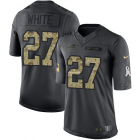 Wholesale Cheap Nike Bills #27 Tre\'Davious White Black Men\'s Stitched NFL Limited 2016 Salute To Service Jersey