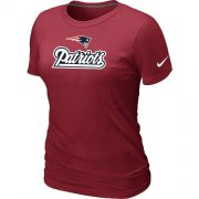 Wholesale Cheap Women's Nike New England Patriots Authentic Logo T-Shirt Red