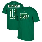 Wholesale Cheap Philadelphia Flyers #11 Travis Konecny Reebok St. Paddy's Day Name & Number T-Shirt Green