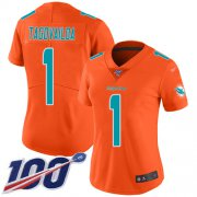 Wholesale Cheap Nike Dolphins #1 Tua Tagovailoa Orange Women's Stitched NFL Limited Inverted Legend 100th Season Jersey