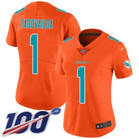 Wholesale Cheap Nike Dolphins #1 Tua Tagovailoa Orange Women\'s Stitched NFL Limited Inverted Legend 100th Season Jersey