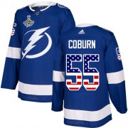 Cheap Adidas Lightning #55 Braydon Coburn Blue Home Authentic USA Flag Youth 2020 Stanley Cup Champions Stitched NHL Jersey