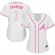 Wholesale Cheap Braves #7 Dansby Swanson White/Pink Fashion Women's Stitched MLB Jersey