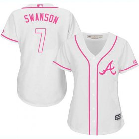 Wholesale Cheap Braves #7 Dansby Swanson White/Pink Fashion Women\'s Stitched MLB Jersey