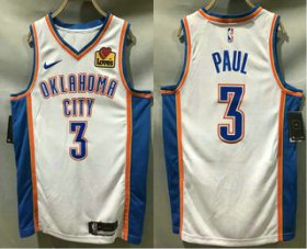 Wholesale Cheap Men\'s Oklahoma City Thunder #3 Chris Paul White 2020 Nike Swingman Stitched NBA Jersey With The Sponsor Logo