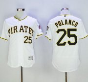 Wholesale Cheap Pirates #25 Gregory Polanco White Flexbase Authentic Collection Stitched MLB Jersey