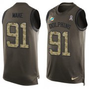 Wholesale Cheap Nike Dolphins #91 Cameron Wake Green Men's Stitched NFL Limited Salute To Service Tank Top Jersey