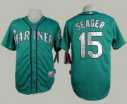 Wholesale Cheap Mariners #15 Kyle Seager Green Alternate Cool Base Stitched MLB Jersey