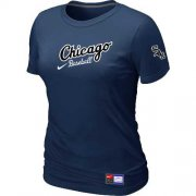 Wholesale Cheap Women's Chicago White Sox Nike Away Practice MLB T-Shirt Midnight Blue