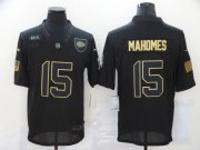 Wholesale Cheap Men's Kansas City Chiefs #15 Patrick Mahomes Black 2020 Salute To Service Stitched NFL Nike Limited Jersey