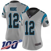 Wholesale Cheap Nike Panthers #12 DJ Moore Silver Women's Stitched NFL Limited Inverted Legend 100th Season Jersey
