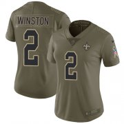 Wholesale Cheap Nike Saints #2 Jameis Winston Olive Women's Stitched NFL Limited 2017 Salute To Service Jersey