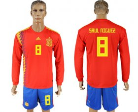 Wholesale Cheap Spain #8 Saul Niguez Red Home Long Sleeves Soccer Country Jersey