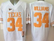 Wholesale Cheap Men's Texas Longhorns #34 Ricky Williams White Throwback NCAA Football Jersey
