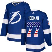 Wholesale Cheap Adidas Lightning #77 Victor Hedman Blue Home Authentic USA Flag Stitched NHL Jersey