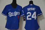 Wholesale Cheap Los Angeles Dodgers #8 #24 Kobe Bryant Women Nike Blue Cool Base 2020 KB Patch MLB Jersey