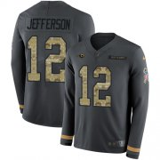 Wholesale Cheap Nike Rams #12 Van Jefferson Anthracite Salute to Service Men's Stitched NFL Limited Therma Long Sleeve Jersey