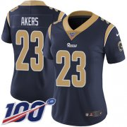 Wholesale Cheap Nike Rams #23 Cam Akers Navy Blue Team Color Women's Stitched NFL 100th Season Vapor Untouchable Limited Jersey