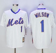 Wholesale Cheap Mitchell and Ness Mets #1 Mookie Wilson Stitched White Blue Strip Throwback MLB Jersey