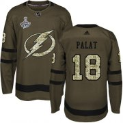 Cheap Adidas Lightning #18 Ondrej Palat Green Salute to Service Youth 2020 Stanley Cup Champions Stitched NHL Jersey