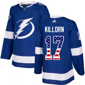 Wholesale Cheap Adidas Lightning #17 Alex Killorn Blue Home Authentic USA Flag Stitched NHL Jersey