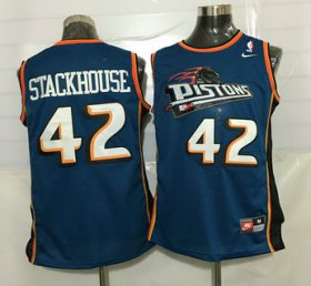 Wholesale Cheap Men\'s Detroit Pistons #42 Jerry Stackhouse Teal Green Soul Swingman Jersey