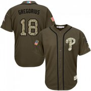 Wholesale Cheap Phillies #18 Didi Gregorius Green Salute to Service Stitched Youth MLB Jersey