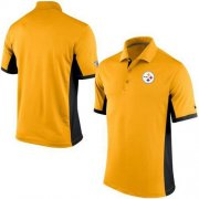 Wholesale Cheap Men's Nike NFL Pittsburgh Steelers Gold Team Issue Performance Polo