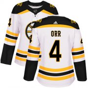 Wholesale Cheap Adidas Bruins #4 Bobby Orr White Road Authentic Women's Stitched NHL Jersey
