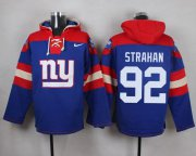 Wholesale Cheap Nike Giants #92 Michael Strahan Royal Blue Player Pullover NFL Hoodie