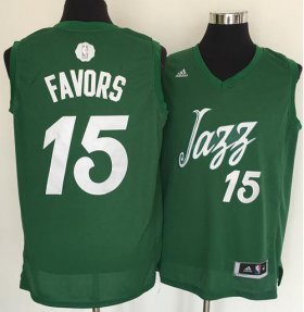 Wholesale Cheap Men\'s Utah Jazz #15 Derrick Favors adidas Green 2016 Christmas Day Stitched NBA Swingman Jersey