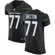 Wholesale Cheap Nike Jets #77 Mekhi Becton Black Alternate Men's Stitched NFL New Elite Jersey