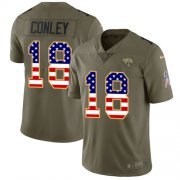 Wholesale Cheap Nike Jaguars #18 Chris Conley Olive/USA Flag Men's Stitched NFL Limited 2017 Salute To Service Jersey