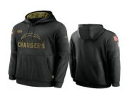 Wholesale Cheap Men's Los Angeles Chargers Black 2020 Salute to Service Sideline Performance Pullover Hoodie