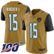 Wholesale Cheap Nike Jaguars #15 Gardner Minshew II Gold Men's Stitched NFL Limited Rush 100th Season Jersey