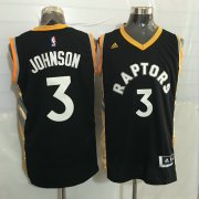 Wholesale Cheap Men's Toronto Raptors #3 James Johnson Black With Gold New NBA Rev 30 Swingman Jersey
