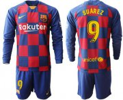 Wholesale Barcelona #9 Suarez Home Long Sleeves Soccer Club Jersey