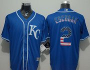 Wholesale Cheap Royals #2 Alcides Escobar Blue USA Flag Fashion Stitched MLB Jersey