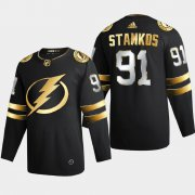 Cheap Tampa Bay Lightning #91 Steve Stamkos Men's Adidas Black Golden Edition Limited Stitched NHL Jersey