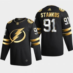 Cheap Tampa Bay Lightning #91 Steve Stamkos Men\'s Adidas Black Golden Edition Limited Stitched NHL Jersey