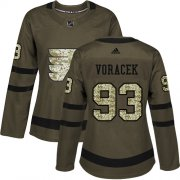 Wholesale Cheap Adidas Flyers #93 Jakub Voracek Green Salute to Service Women's Stitched NHL Jersey