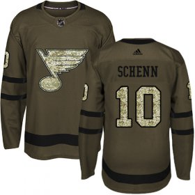 Wholesale Cheap Adidas Blues #10 Brayden Schenn Green Salute to Service Stitched Youth NHL Jersey