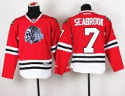 Wholesale Cheap Blackhawks #7 Brent Seabrook Red(White Skull) Stitched Youth NHL Jersey