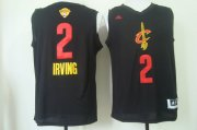 Wholesale Cheap Men's Cleveland Cavaliers #2 Kyrie Irving 2017 The NBA Finals Patch Black With Red Fashion Jersey