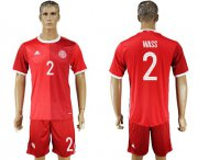 Wholesale Cheap Danmark #2 Wass Red Home Soccer Country Jersey