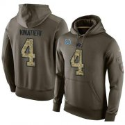 Wholesale Cheap NFL Men's Nike Indianapolis Colts #4 Adam Vinatieri Stitched Green Olive Salute To Service KO Performance Hoodie
