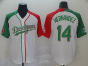 Wholesale Cheap Los Angeles Dodgers Mexico #14 Enrique Hernandez Split Fashion MLB Jersey White