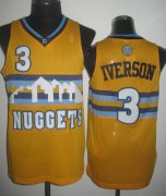Wholesale Cheap Denver Nuggets #3 Allen Iverson Yellow Swingman Jersey