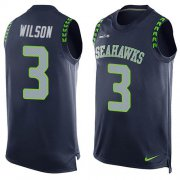 Wholesale Cheap Nike Seahawks #3 Russell Wilson Steel Blue Team Color Men's Stitched NFL Limited Tank Top Jersey