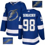 Wholesale Cheap Adidas Lightning #98 Mikhail Sergachev Blue Home Authentic Fashion Gold Stitched NHL Jersey